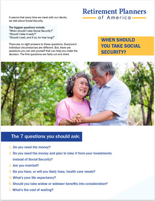 Thumbnail of free guide on questions to ask to help with your social security decision